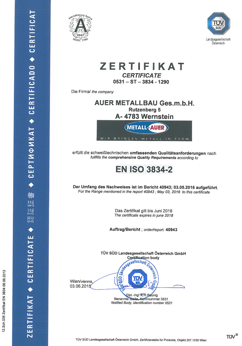 Zertifikate, Zertifikate und Zulassungen | Metall-Auer, EN ISO 3834-2